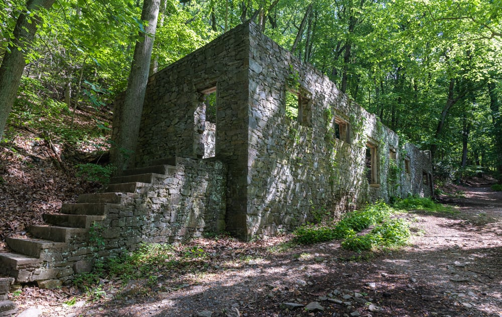 Abandoned Colonial Springs Bottling Plant on the Mount Misery Trails in Valley Forge National Historical Park