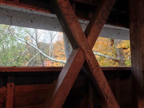 Interior supports of Gibson's Covered Bridge near West Chester PA