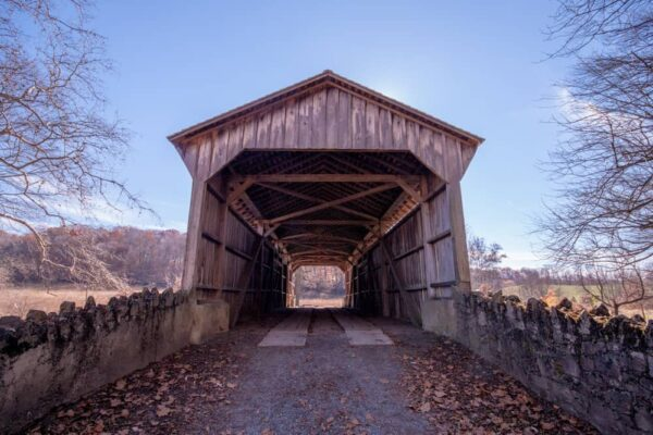 Entrance to Hayes Clark Covered Bridge on the Brandywine Conservancy