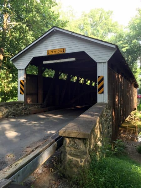 The entrance to Linton Stevens Covered Bridge in southern Chester County, PA