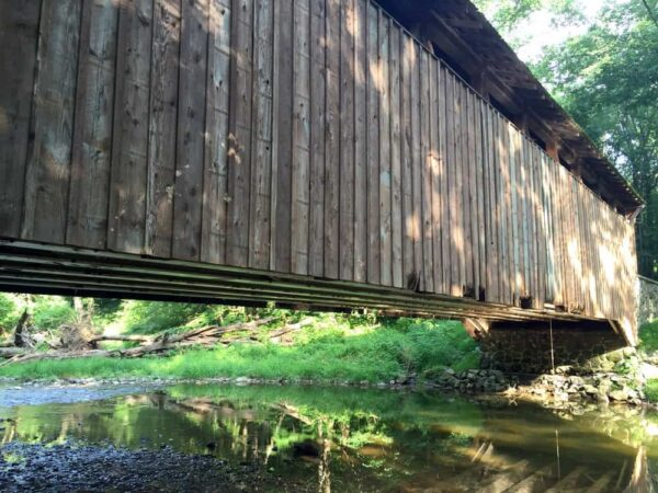 A side view of Linton Stevens Covered Bridge near Oxford Pennsylvania