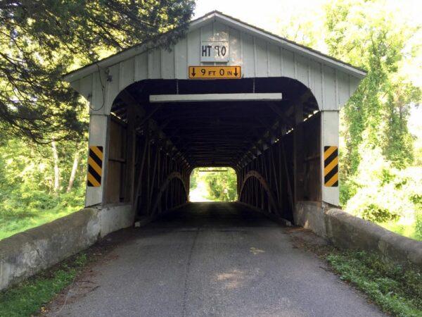 The entrance to Rudolph Arthur Covered Bridge near Oxford Pennsylvania