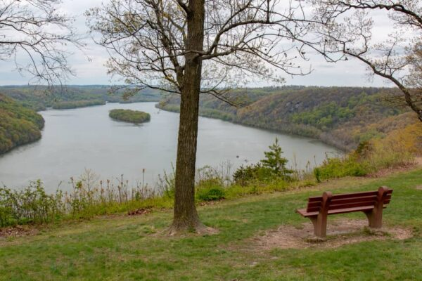 Bench in front of the view from the Pinnacle Overlook in Lancaster County PA