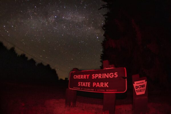 Cherry Spring State Park sign under the milky way in Pennsylvania