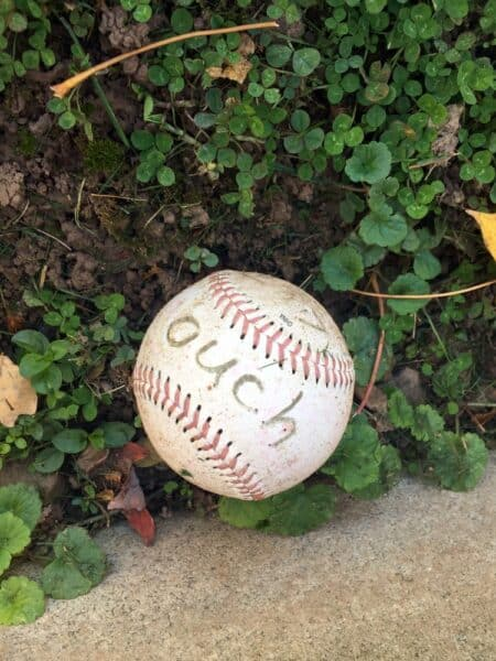 Ouch baseball at the grave of Hughie Jennings in northeastern Pennsylvania