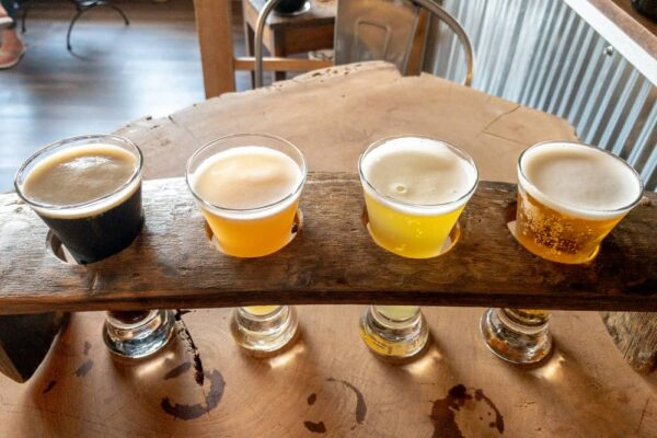 A flight of beers at Olde Bedford Brewing in Bedford PA