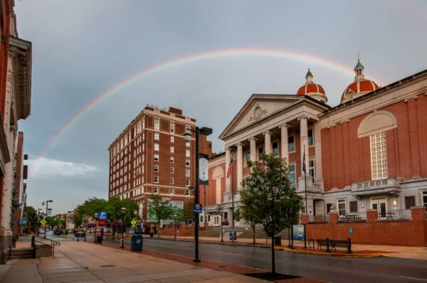 Rainbow over courthouse in York, PA