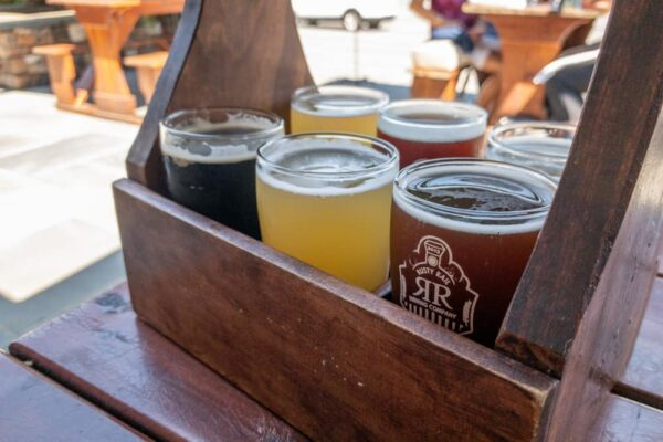 A flight of beers at Rusty Rail Brewing in Mifflinburg PA