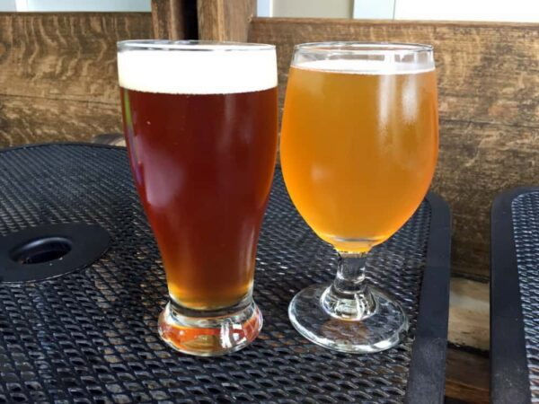 Two beers at Selin's Grove Brewing in Selinsgrove Pennsylvania