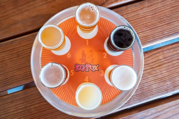 Flight of beers at Sly Fox Brewing in Pottstown PA