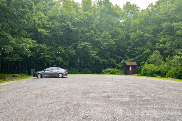 The parking area for the Tidioute Overlook Trail in Warren County Pennsylvania