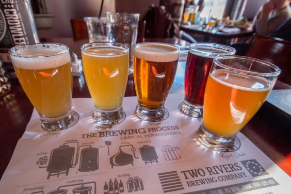 A flight of beer at Two Rivers Brewing Co in Easton PA