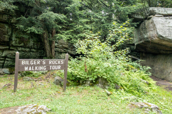 Sign at the entrance to Bilger's Rocks in Clearfield County PA