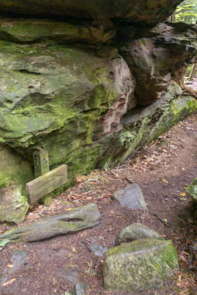 Trail through Bilger's Rocks in Grampian PA