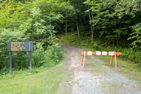 Trailhead for the Castle Vista Trail in Ole Bull State Park in the Pennsylvania Wilds