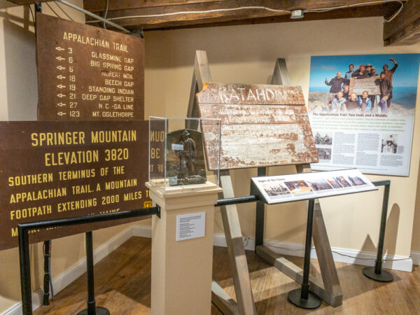 Historic signs in the Appalachian Trail Museum in PA's Pine Grove Furnace State Park
