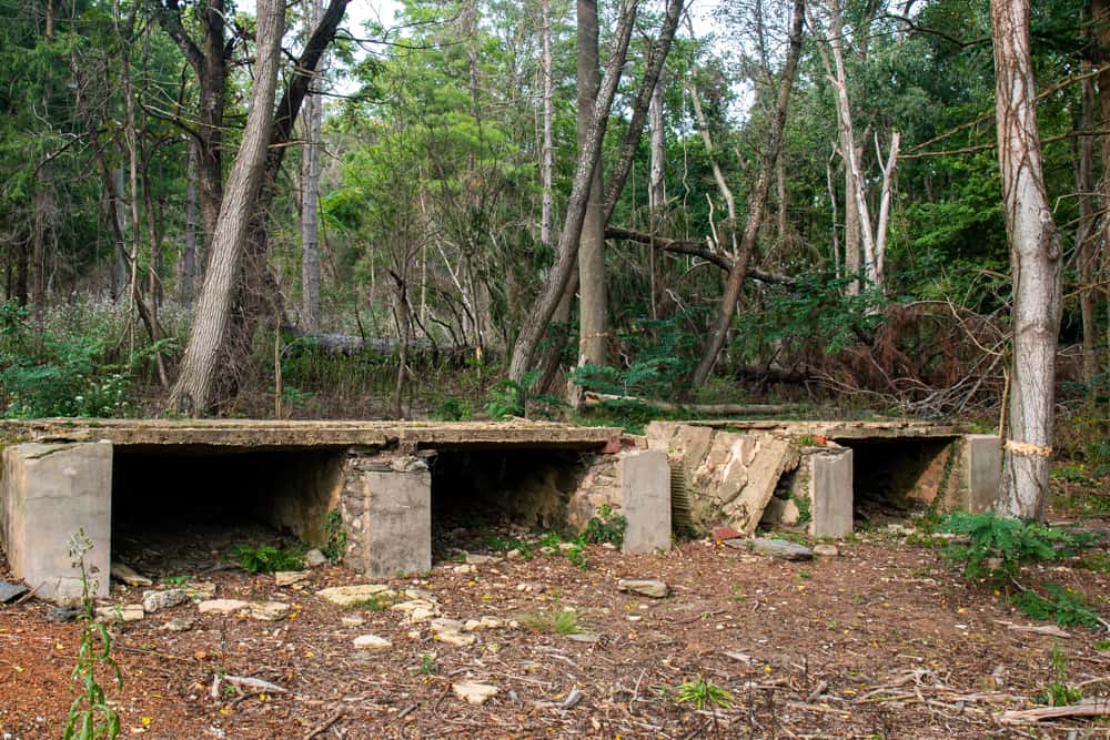 Concrete ruins at the abandoned Camp Michaux POW Camp