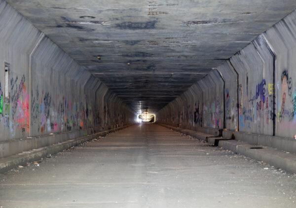 Inside the abandoned Sideling Hill Tunnel near Waterfall PA