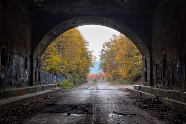 Looking out from a short distance inside the abandoned Sideling Hill Tunnel in Fulton County PA
