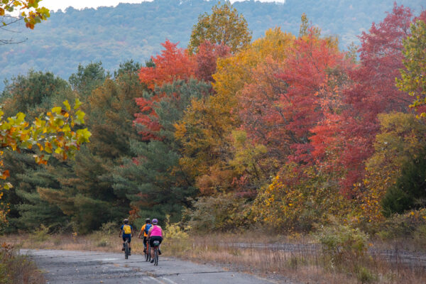 Bicycle riders on the Abandoned Pennsylvania Turnpike in Fulton County PA