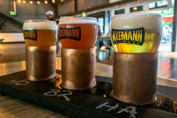 A flight of beers at Axemann Brewery in Bellefonte PA