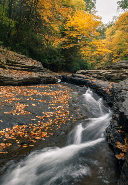 Fall at the Natural Waterslides in Ohiopyle Pennsylvania