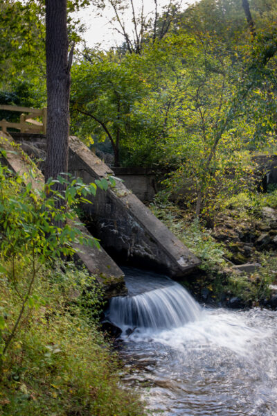 Small waterfall at the sawmill dam in Nolde Forest in Reading PA