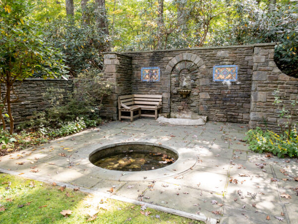 Fountain at the park office in Nolde Forest Environmental Education Center in PA