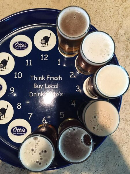 A flight of beers from Otto's Pub and Brewery in State College PA