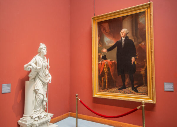 A painting of George Washington at the Pennsylvania Academy of Fine Arts in Philadelphia