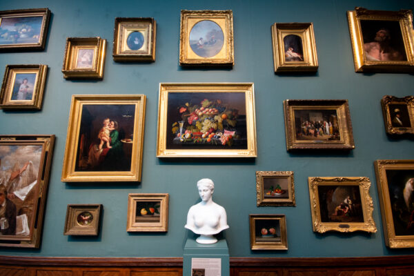 Wall of paintings at the Pennsylvania Academy of Fine Arts in Philly