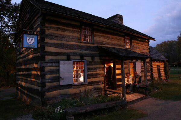 Historic Hanna's Town at night