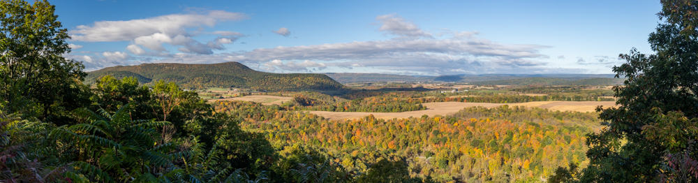 A panoramic view from Spruce Creek Overlook in Huntingdon County PA