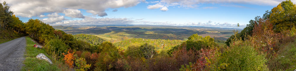 Panoramic of Colerain Road Vista in Rothrock State Forest