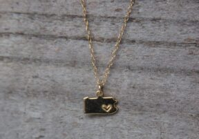 Gold plated Pennsylvania necklace with hand-stamped heart