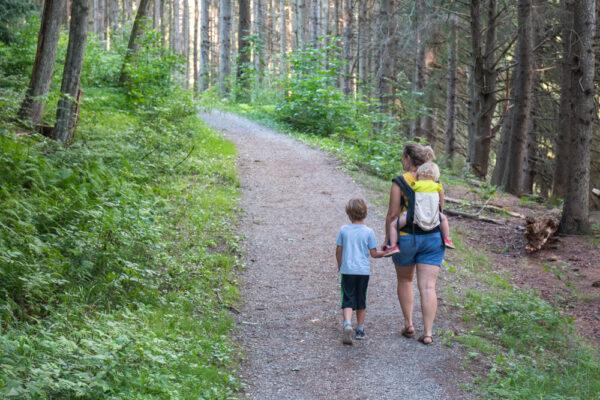 Family hiking the Marilla Bridges Trail in Bradford PA