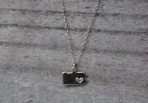 Silver plated Pennsylvania necklace with hand-stamped heart