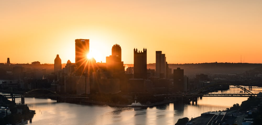 Sunrise over Pittsburgh from West End Overlook