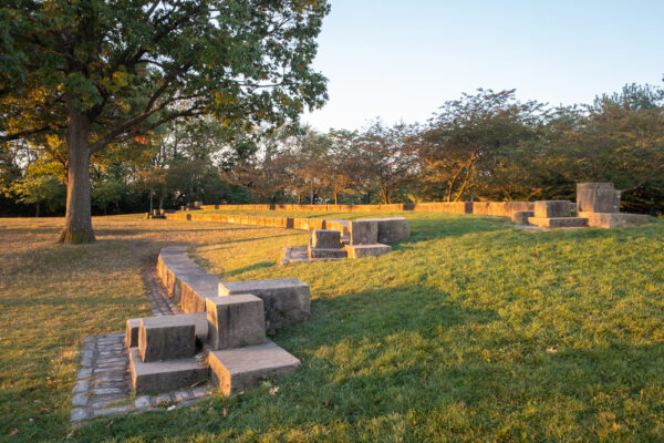 Grassy area at West End Overlook Park in Pittsburgh Pennsylvania