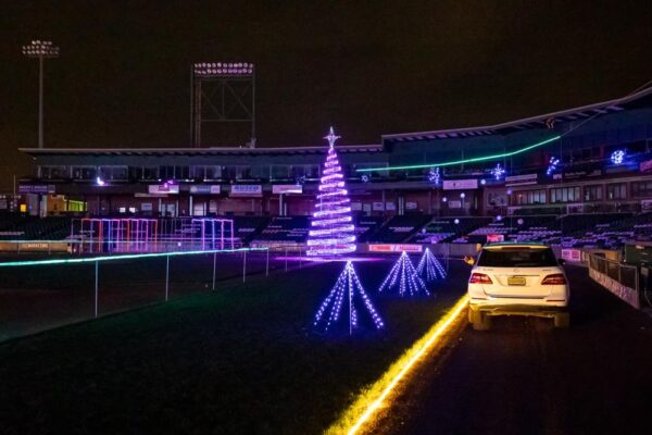 Inside Clipper Magazine Stadium for the Christmas Spirit Light Show in Lancaster PA