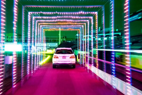 Light tunnel at the Christmas Spirit Light Show in Lancaster Pennsylvania
