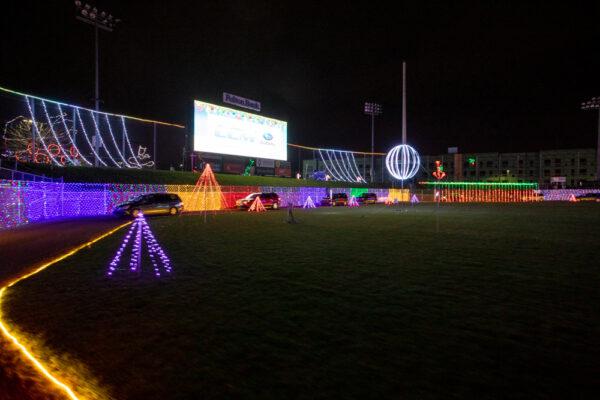 Christmas Spirit Light Show at Clipper Magazine Stadium in Lancaster Pennsylvania