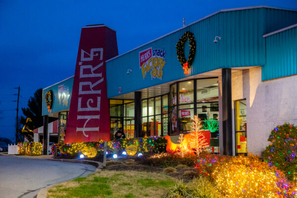 Christmas lights at the Herr's Factory Tour in Nottingham PA
