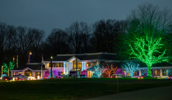 Herr's Christmas lights on their corporate campus in Chester County PA