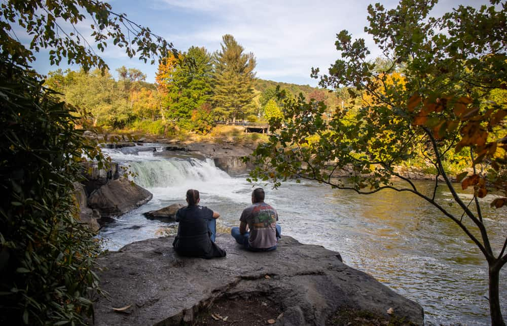 People enjoying Ohiopyle Falls along the Trails at Ferncliff Peninsula in Ohiopyle State Park