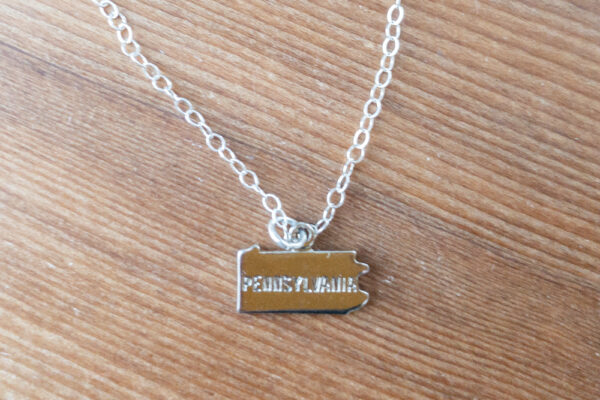 "Silver ""Pennsylvania"" stamped necklace"