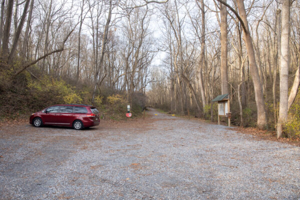 The parking area at Silver Mine Park in Lancaster PA