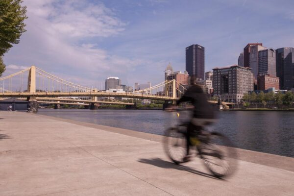 Biking on the North Shore River Trail in Pittsburgh PA