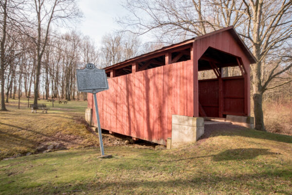 Fowlersville Covered Bridge in Briar Creek Lake Park in Berwick Pennsylvania