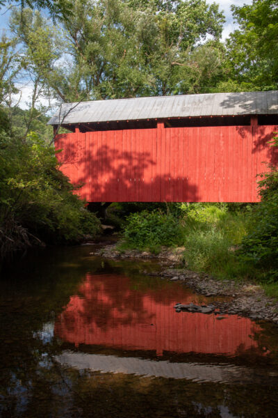 Johnson Covered Bridge crossing Mugser Run in Columbia County Pennsylvania